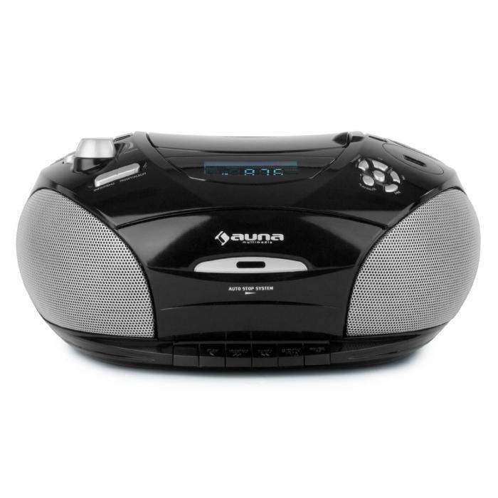 RCD220 Boombox CD USB kasettidekki PLL-UKW-radio MP3 2x2W musta