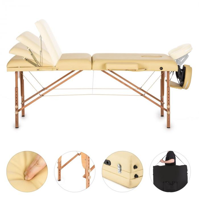MT 500 hierontapöytä 210 cm 200 kg taitettava vaahtomuovi kassi beige