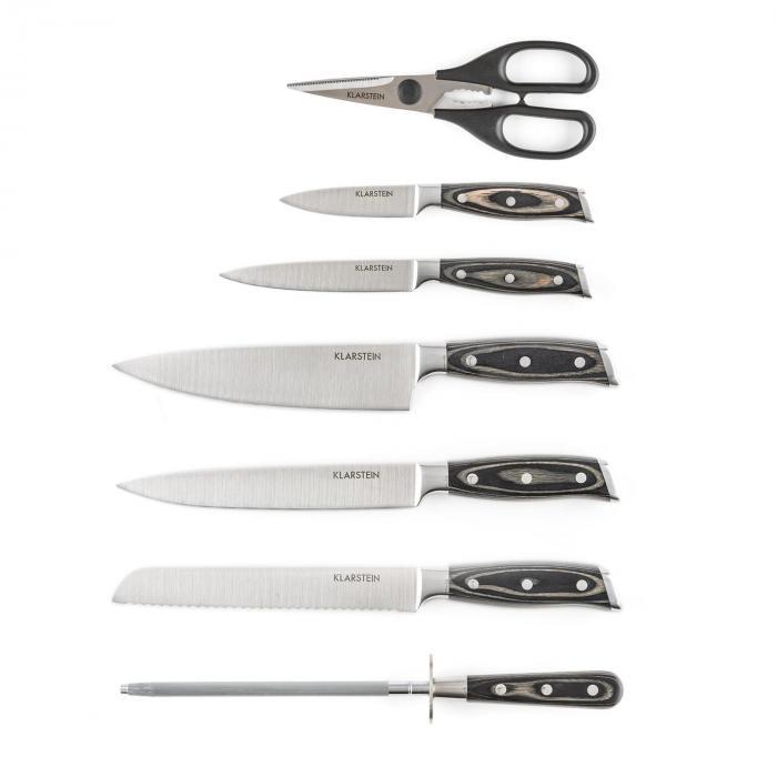 Katana 8 Knife Set 8-Piece Scissors Sharpening Steel Knife Block