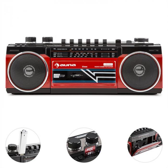 Duke retro-boombox kannettava kasettisoitin USB SD bluetooth FM-radio