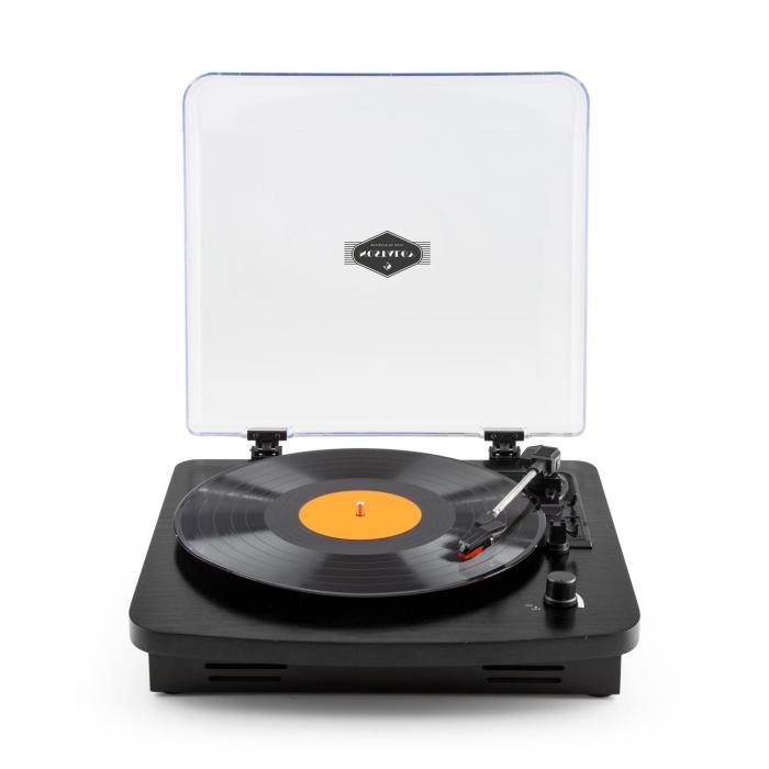 TT370 retrolevysoitin integroitu kaiutin USB MP3 AUX musta