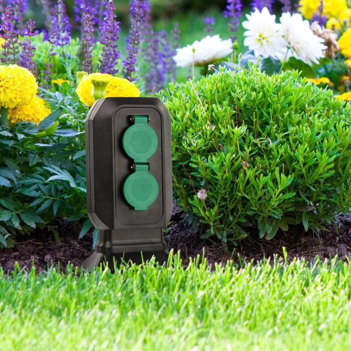 Powerspike S4 Gartensteckdose 4er IP44 3680W 3m Kabel Erdspieß