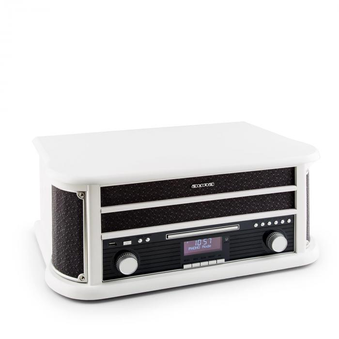 Belle Epoque 1908 DAB Impianto Stereo Retrò Giradischi DAB+ Bluetooth bianco