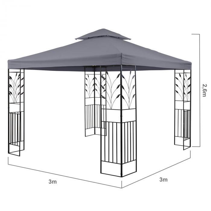 Odeon Grey paviljonki juhlateltta 3 x 3 m terästä polyesteria tummanharmaa