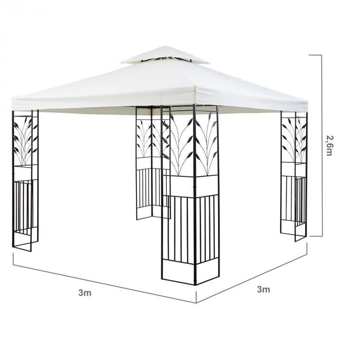 Odeon Beige paviljonki juhlateltta 3 x 3 m terästä polyesteria vaalea beige