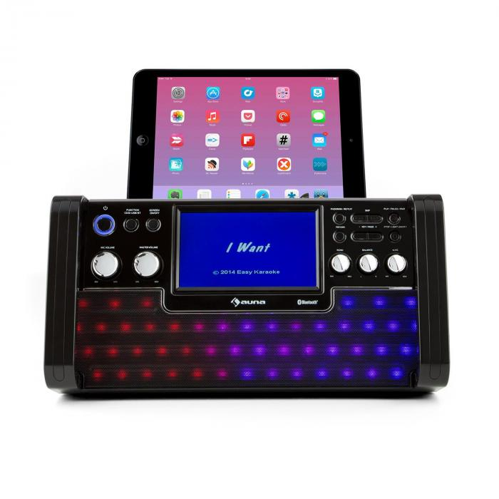 "DiscoFever LED Bluetooth-Karaokeanlage LED 7"" TFT-Screen CD USB schwarz"