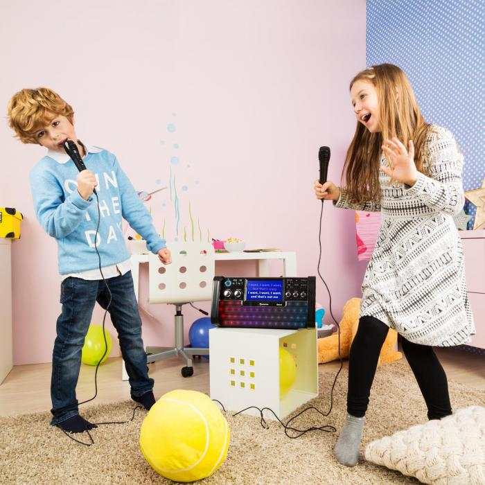 "DiscoFever Impianto Karaoke Bluetooth Display TFT 7"" LED CD USB Nero"