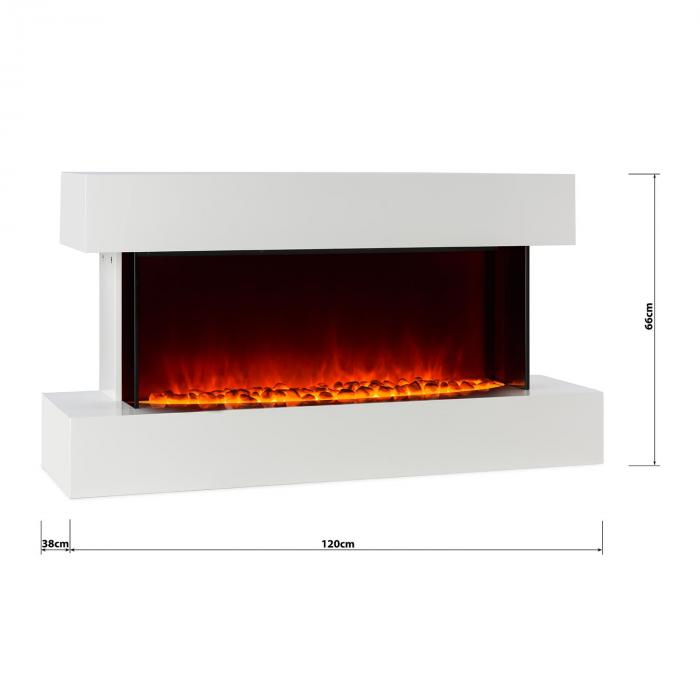 Studio-2 Electric Fireplace LED Flame Simulation 1000/2000 W 40m² White