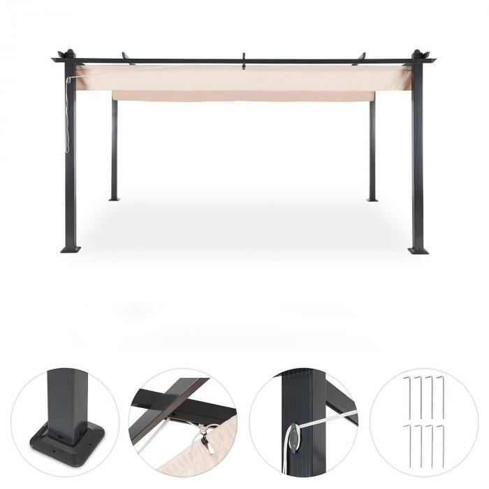 pantheon 3x4 pergola vordach 3x4m aluminium sonnendach. Black Bedroom Furniture Sets. Home Design Ideas