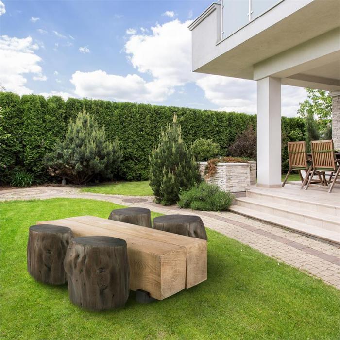 Blockhouse Chair Sgabello Effetto Ceppo per il Giardino 45 x 44 x36 cm Legno