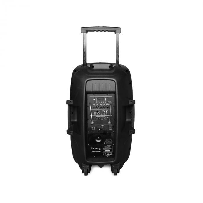 """Hybrid 15 VHF BT 2x15"""" liikuteltava PA-laite jalustalla BT USB SD MP3 700W max"""