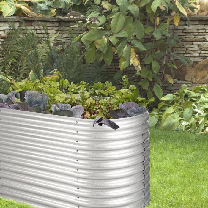 High Grow Hochbeet Gartenbeet 2,0m Zink-Alu-Beschichtung silber