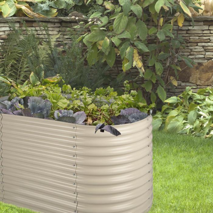 High Grow Hochbeet Gartenbeet 2,0m Zink-Alu-Beschichtung beige