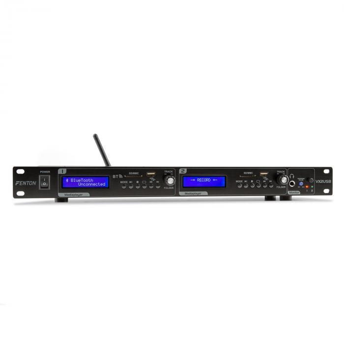 VX2USB Twin Player USB SD bluetooth tallennustoiminto musta
