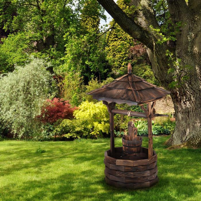 Loreley Garden Fountain garden decoration 125cm fir wood burnt