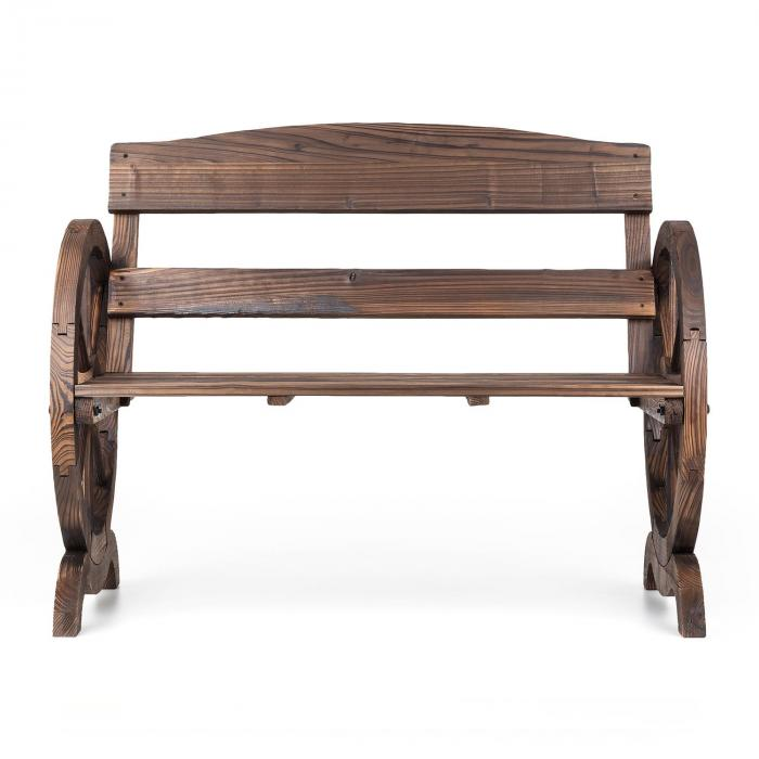 ammergau gartenbank wagenrad holzbank 108x65x86cm tannenholz geflammt online kaufen. Black Bedroom Furniture Sets. Home Design Ideas