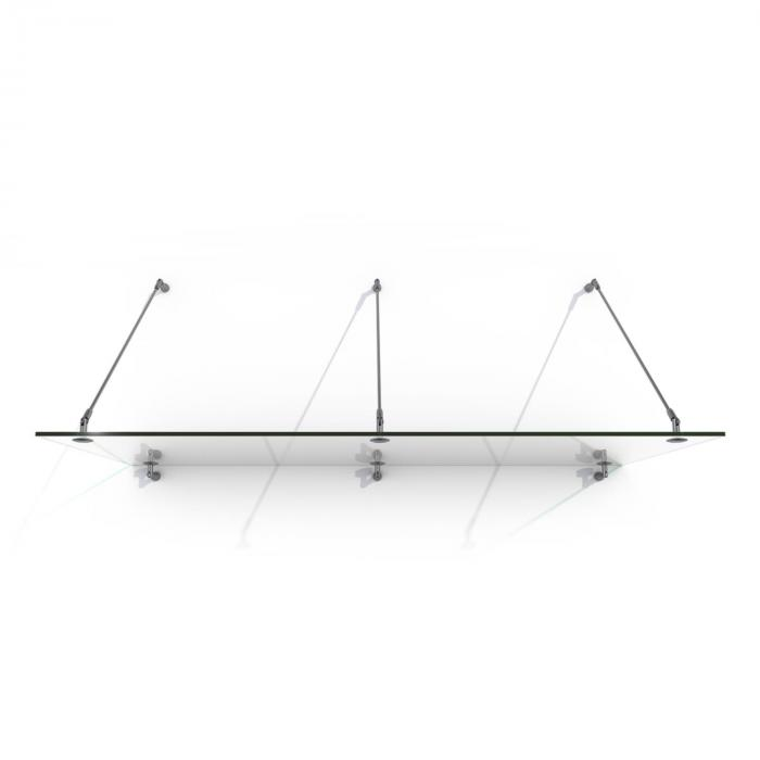 Skygate 200 lasinen ovikatos 200x90 ruostumaton teräs kirkas lasi