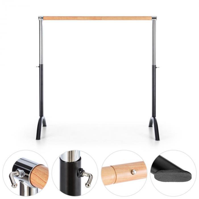 Bar Lerina balletstang barre mobiel 110x113 cm in hoogte verstelbaar - zwart staal