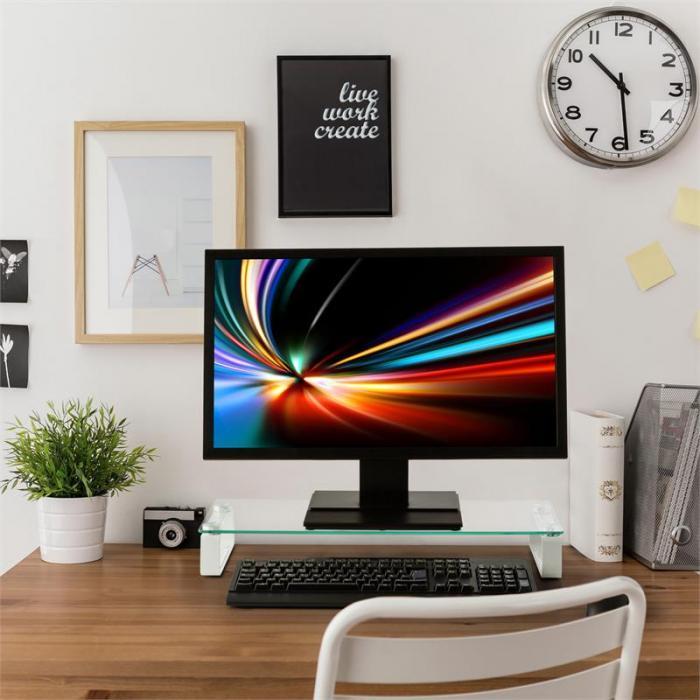 M-Riser TV-Board monitorijalka kuvaruutualusta 56x8x21cm 20kg lasi