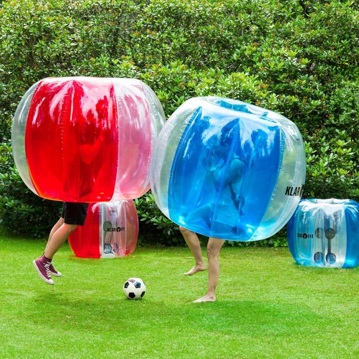 Bubble Ball Football gonflable pour enfants 75x110cm PVC EN71P - bleu