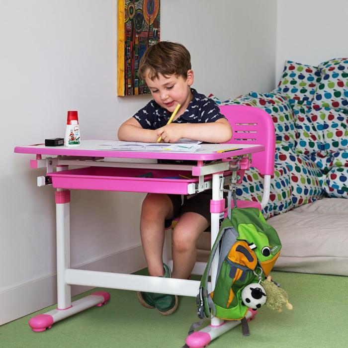 Annika Scrivania Per Bambini 2 Pezzi Tavolo Sedia Regolabile In Altezza Rosa