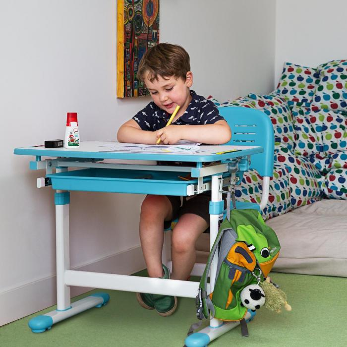 Tommi Scrivania Per Bambini 2 Pezzi Tavolo Sedia Regolabile In Altezza Blu