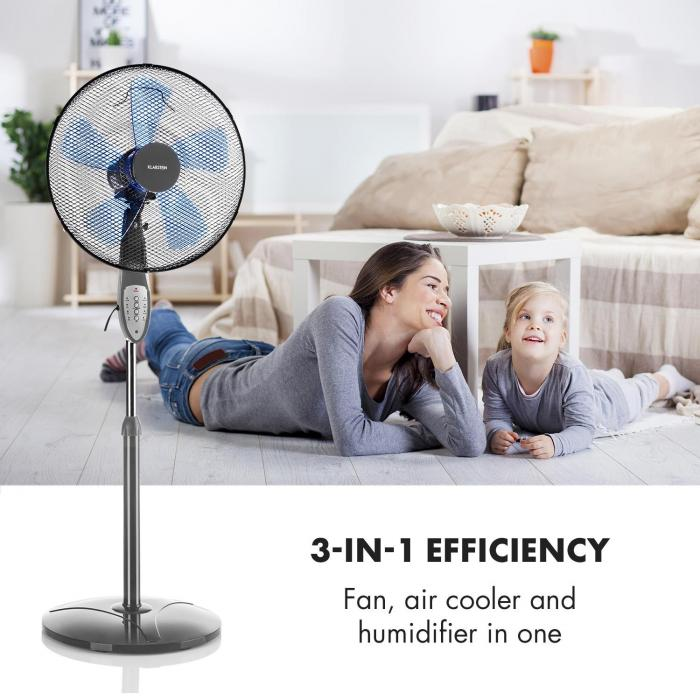 Summerjam Ventilatore a Piantana 41cm 50W 3 Livelli grigio