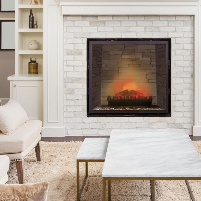 kamini elektrischer kamin kamineinsatz 45w g9 schwarz online kaufen elektronik star de. Black Bedroom Furniture Sets. Home Design Ideas