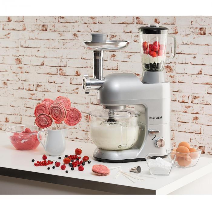 Lucia Argentea 2G Küchenmaschine Mixer Fleischwolf 1200W BPA-frei
