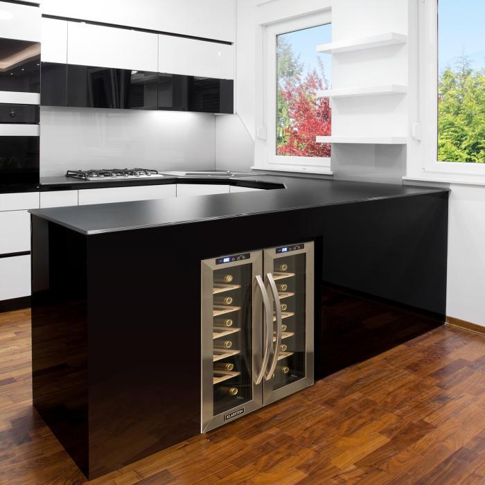 SaloonNapa Frigorifero per Vini 67L 2 Porte in Vetro 11-18°C Acciaio Inox