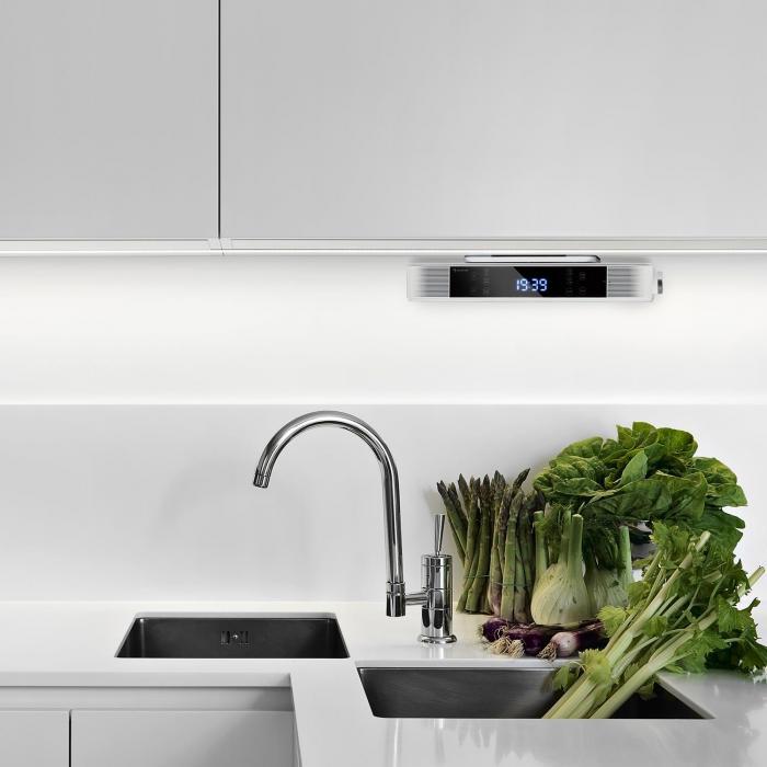 KR-140 Bluetooth Rádio de Cozinha Função Alta Voz Rádio FM Luz LED Branco
