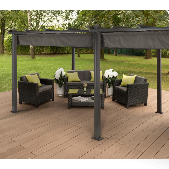 pantheon 3x6 pergola vordach 3x6m aluminium sonnendach polyester grau online kaufen. Black Bedroom Furniture Sets. Home Design Ideas