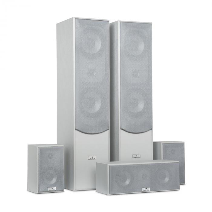 Surround Zestaw kolumn głośnikowych do kina domowego 335W RMS srebrny