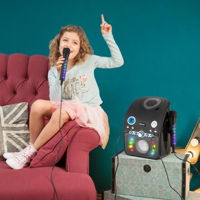 Kara Dazzl Microfono LED Effetto Luce Karaoke Nero