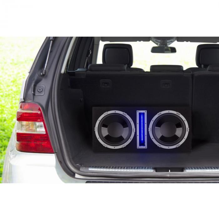 "Basswaver X12L Active Car Subwoofer 2 x 30cm (12"") 1200W max. LED"