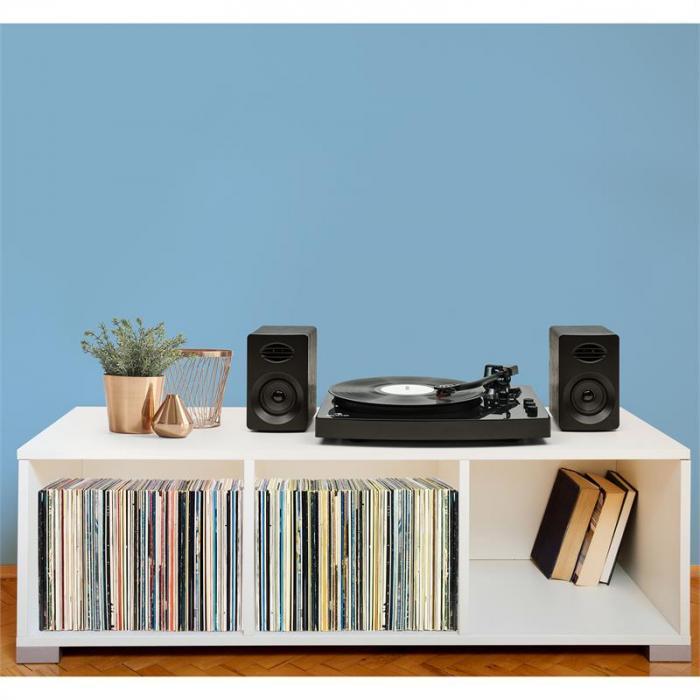 """TT-Play levysoitin 2 stereokaiutinta (3""""/10W) BT 33 1/3 & 45 pyörähdystä/min"""