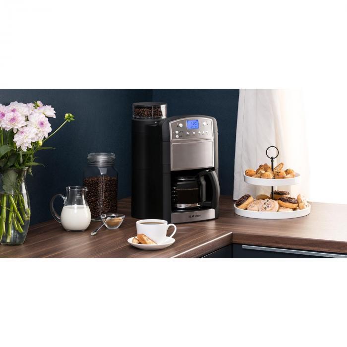 Aromatica Kaffeemaschine Mahlwerk 10 Tassen Glaskanne Aroma+ Edelstahl