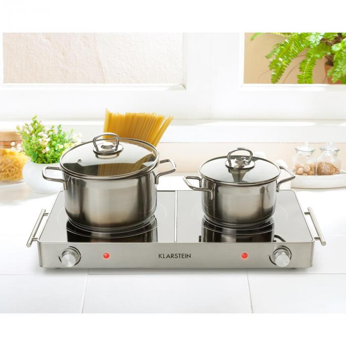 VariCook Duo Hot Plate 3000W Stainless Steel Handles Silver
