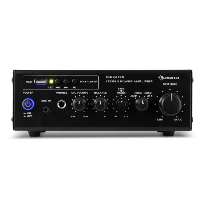 Amp2 USBT Mini Stereo Amplifier Microphone and Headphone Connection Black