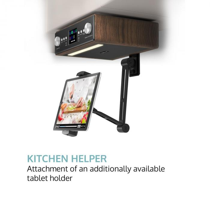 "Connect Soundchef Kitchen Radio with Tablet Holder DAB + FM 2x3"" Boxes Walnut"