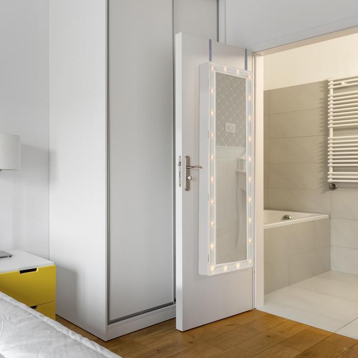Smilla armadietto specchio portagioie 24x led staffe per porta serratura bianco appendino da - Specchio da porta ...