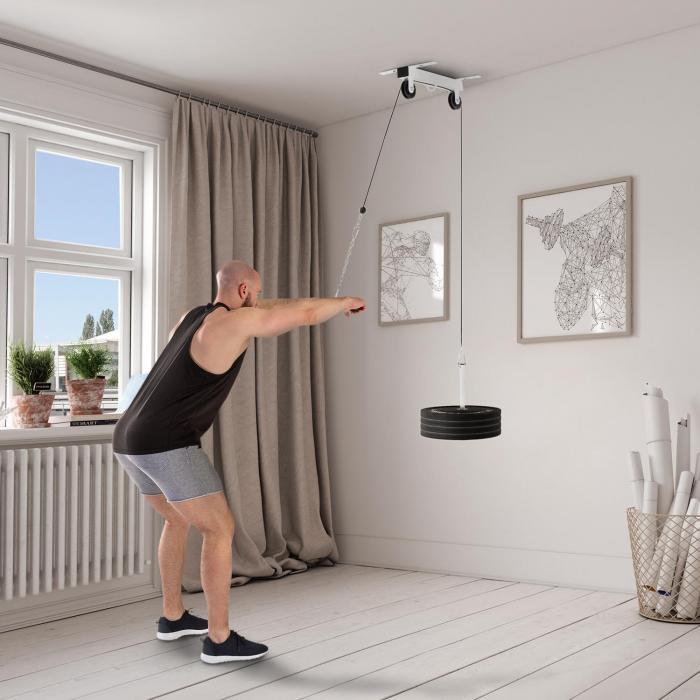 Hangman Latzug Deckeninstallation 2m Kabel Trizepsstange weiß