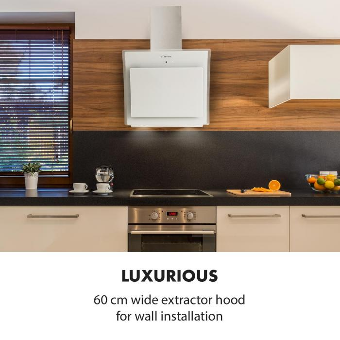 Sabia 60 Cooker Extractor Hood 60cm 600m³/h LEDs 3  Power Levels White
