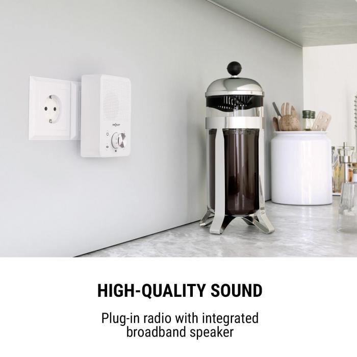 Plug+Play FM Steckdosen-Radio, UKW-Tuner, USB, BT, weiß