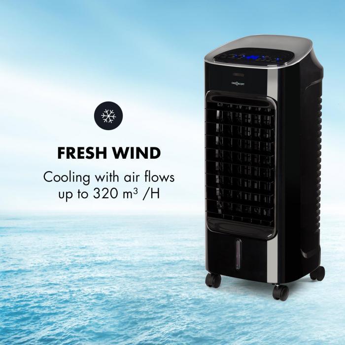 Coolster Raffreddatore Aria Ventilatore Ionizzatore 65W 320m³/h Serbatoio di 4L Nero