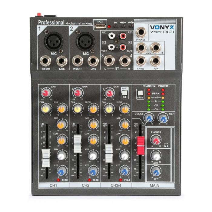 VMM-F401 4-kanava musiikkimikseri USB-soitin AUX-IN +48V Phantom