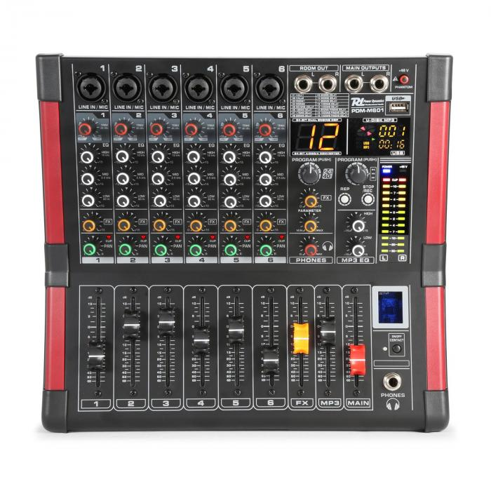 PDM-M604 Mesa de mezclas 6 entradas para micrófono Procesador multi-FX de 24 bits