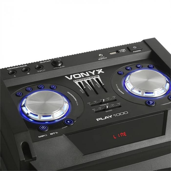 PLAY1000 bilekaiutin USB BT AUX-, kitara- ja mikrofoniliitäntä