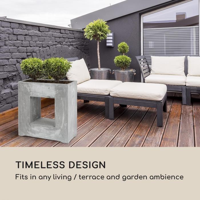 Airflor Plant Pot 70 x 70 x 27 cm Fiberglass Indoor / Outdoor Light Grey