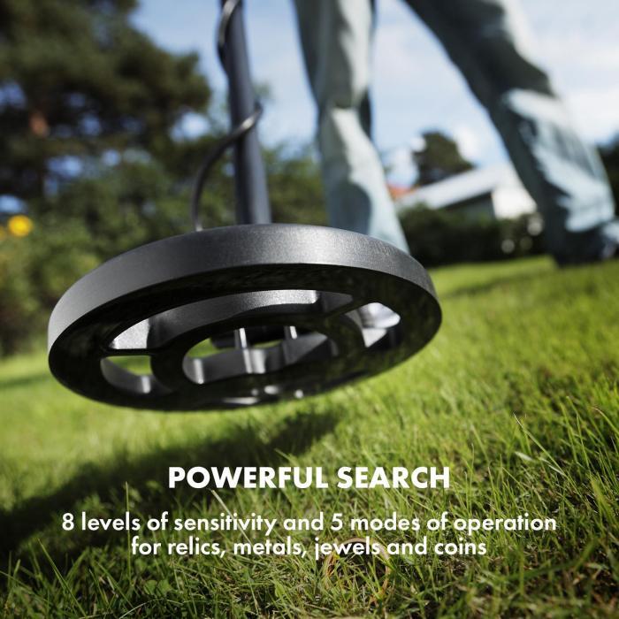 Dr. Jones Detektor metali 5 trybów Ø 20 cm do 2 m wyświetlacz plecak słuchawki